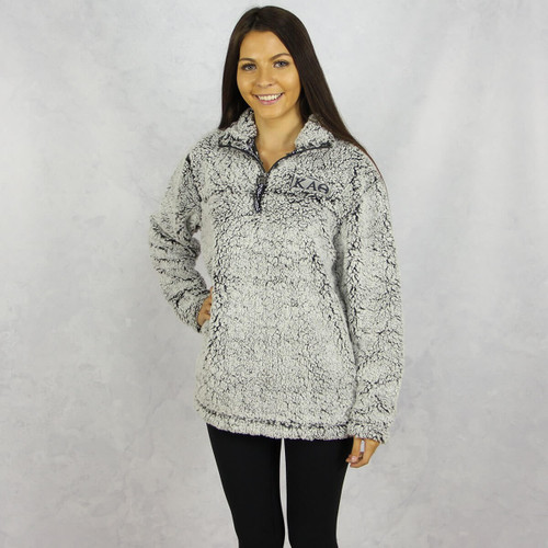Kappa Alpha Theta Sherpa Quarter Zip Sweatshirt in Gray