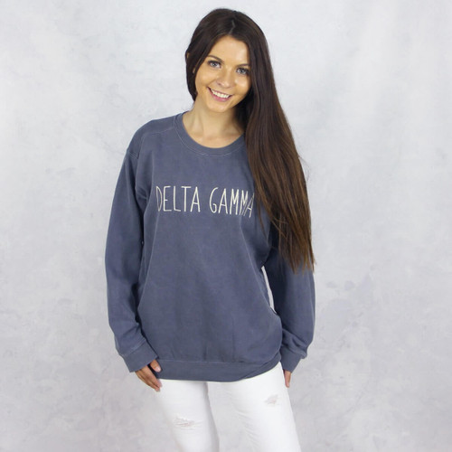Delta Gamma Embroidered Sweatshirt in Blue by Comfort Colors