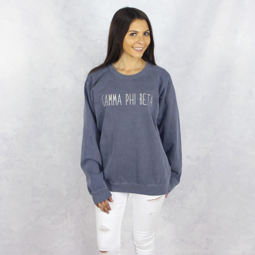 Gamma Phi Beta Embroidered Sweatshirt in Blue by Comfort Colors