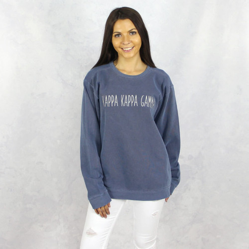 Kappa Kappa Gamma Embroidered Sweatshirt in Blue by Comfort Colors