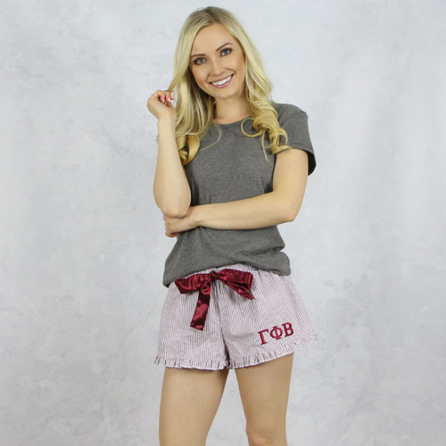 Gamma Phi Beta Seersucker Striped Boxer Shorts in Maroon