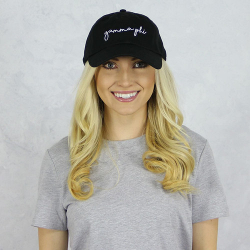 Gamma Phi Beta Dad Baseball Hat in Black