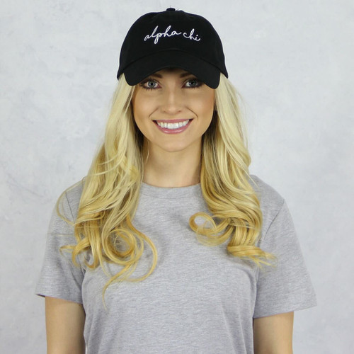 Alpha Chi Omega Dad Baseball Hat in Black