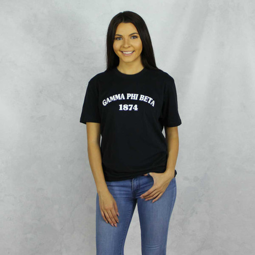 Gamma Phi Beta Short Sleeve T-Shirt in Black
