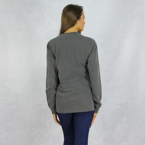 Alpha Phi Comfort Colors Long Sleeve T-Shirt in Dark Gray Back