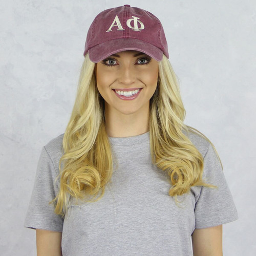 Alpha Phi Baseball Hat in Maroon