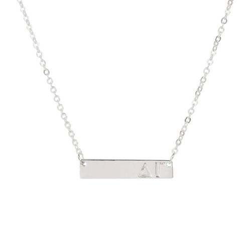 Delta Gamma Silver Bar Necklace