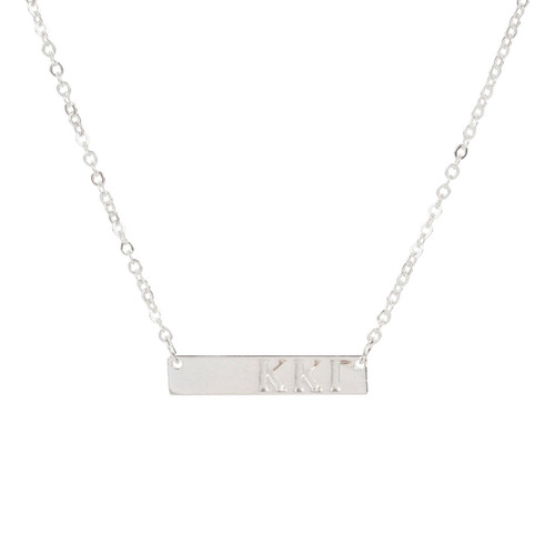Kappa Kappa Gamma Silver Bar Necklace