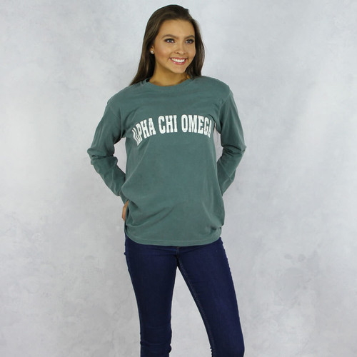 Alpha Chi Omega Colors Long Sleeve T-Shirt in Hunter Green