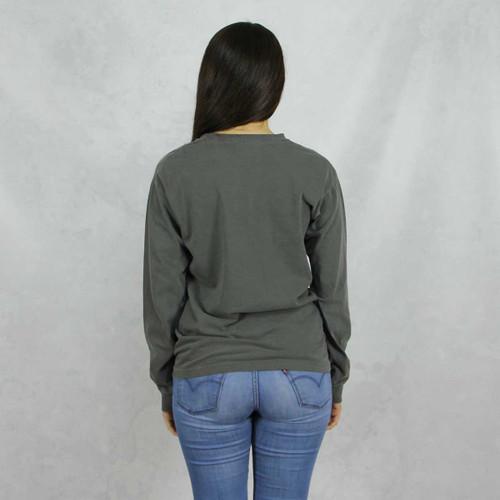 Gamma Phi Beta Comfort Colors Long Sleeve T-Shirt in Dark Gray  Back