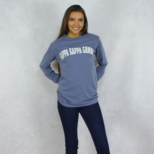 Kappa Kappa Gamma Comfort Colors Long Sleeve T-Shirt in Denim Blue