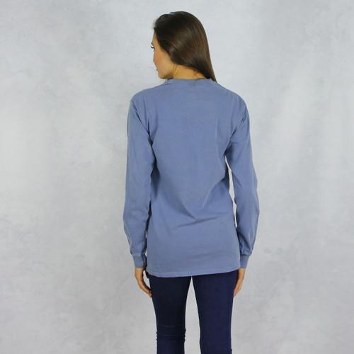 Delta Gamma Comfort Colors Long Sleeve T-Shirt in Denim Blue Back