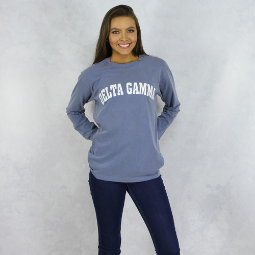 Delta Gamma Comfort Colors Long Sleeve T-Shirt in Denim Blue