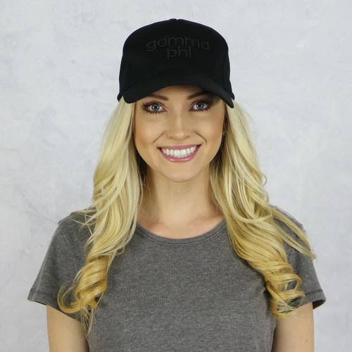 Gamma Phi Beta Baseball Hat in Black on Black