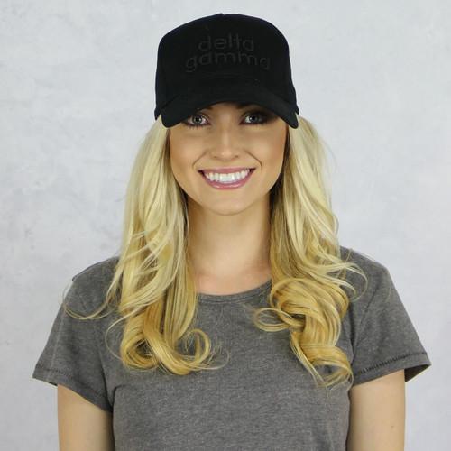 Delta Gamma Baseball Hat in Black on Black