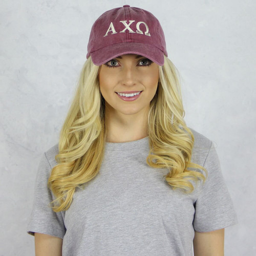 Alpha Chi Omega Baseball Hat in Maroon