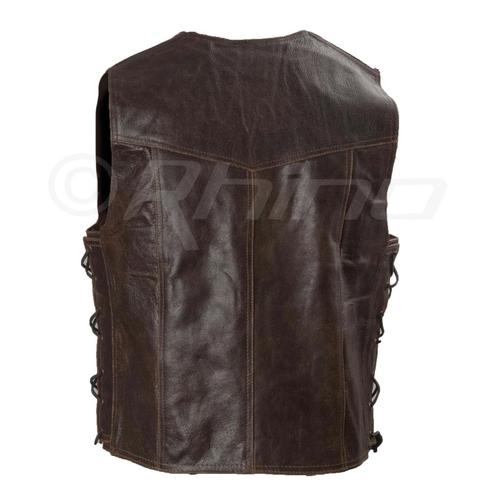 Dark Brown Distressed Leather Vest with Metal Clasps - back