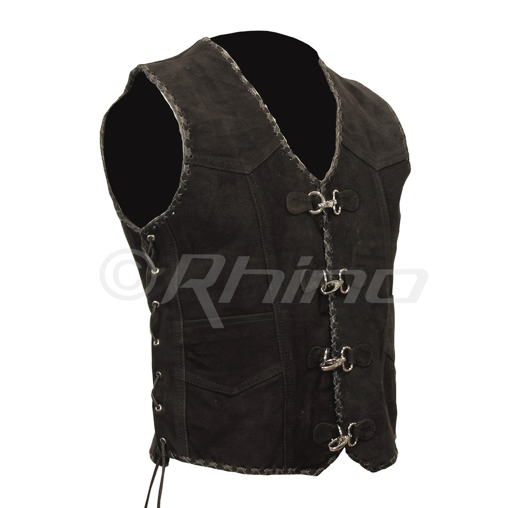 Suede Biker Vest with Metal Clasps and Black Leather Braiding