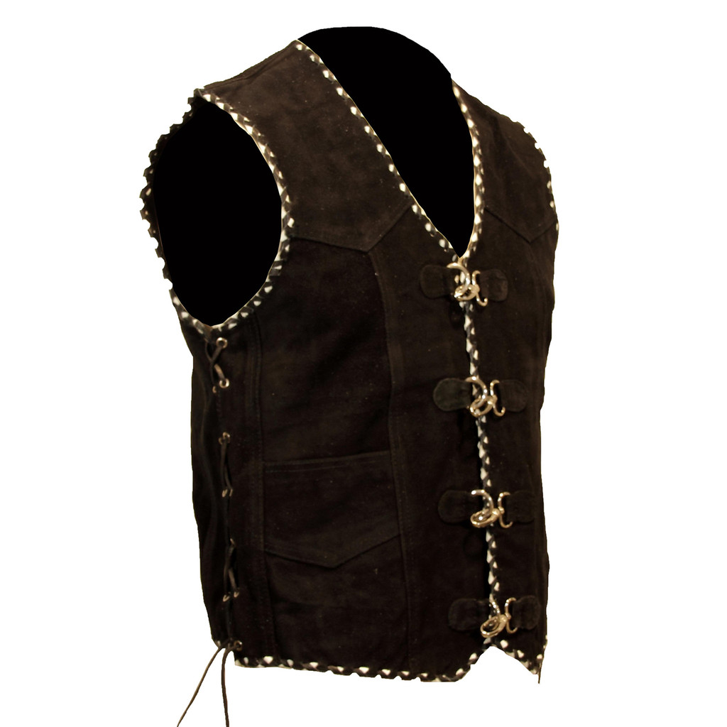 Suede Leather biker vest With Metal Clasps, Black and White Braiding