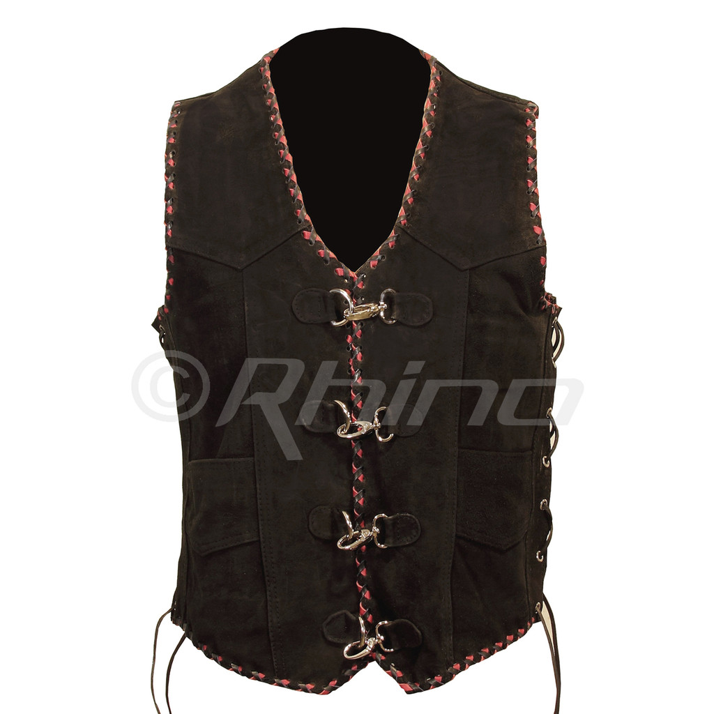 Suede Vest with Metal Clasps and Black and Red Braiding - front view
