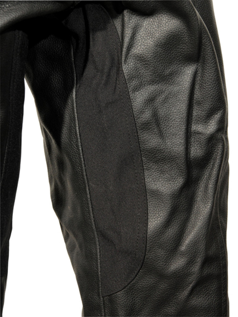 Atomic - Mens Black Leather Biker Pants - leg view