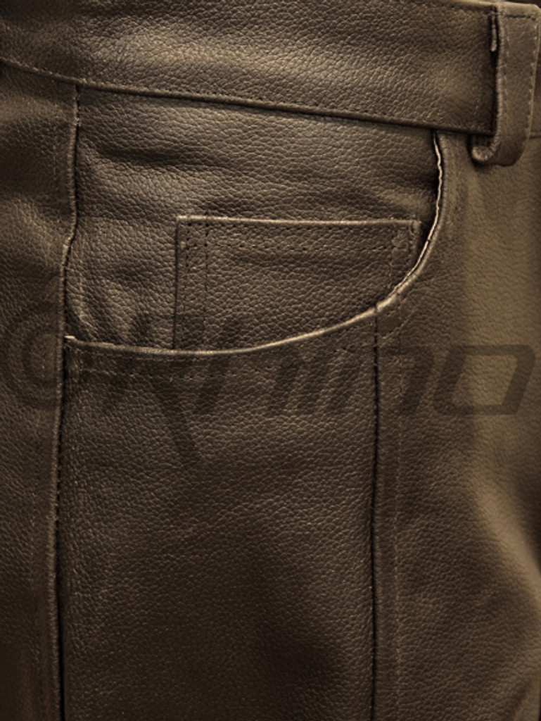 Atomic - Mens Black Leather Biker Pants - pocket