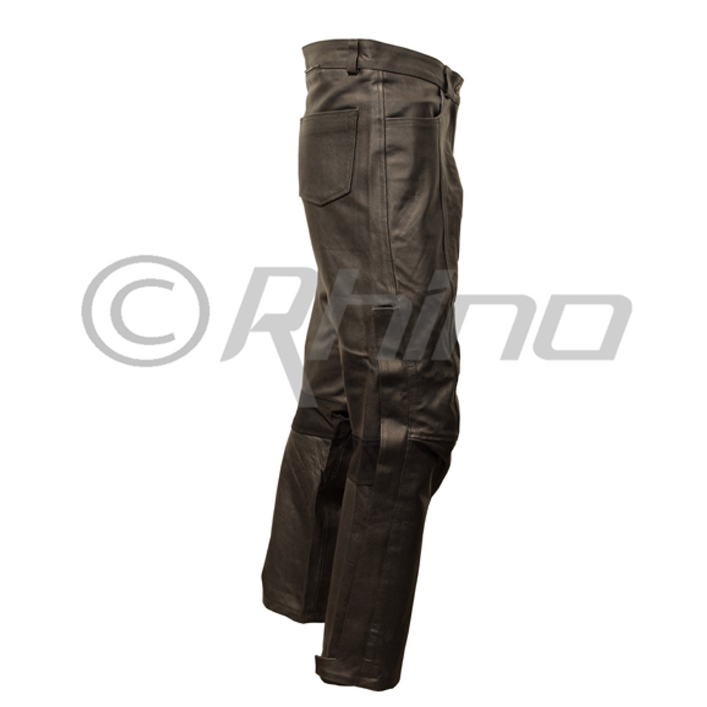 Atomic - Mens Black Leather Biker Pants - side