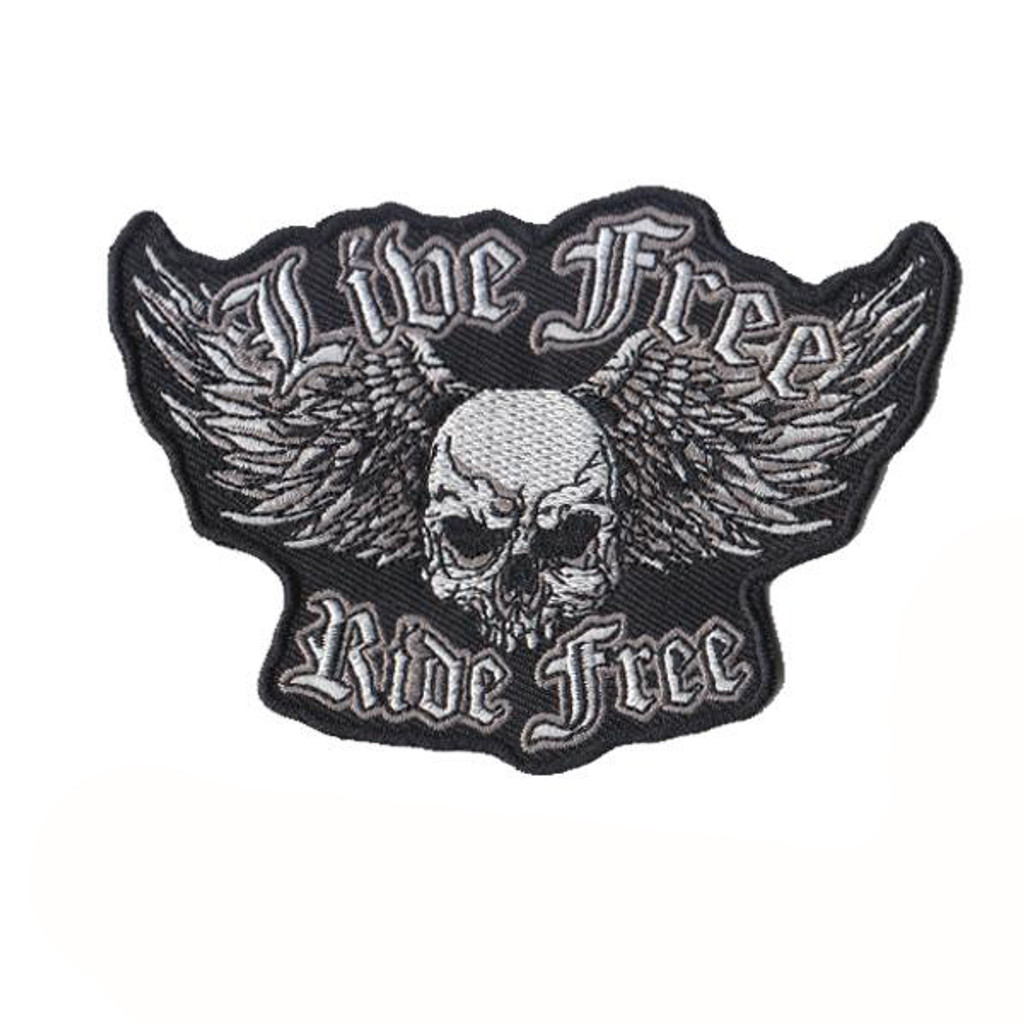 Live Free RIde Free Skull Motorcycle Embroidered Patch