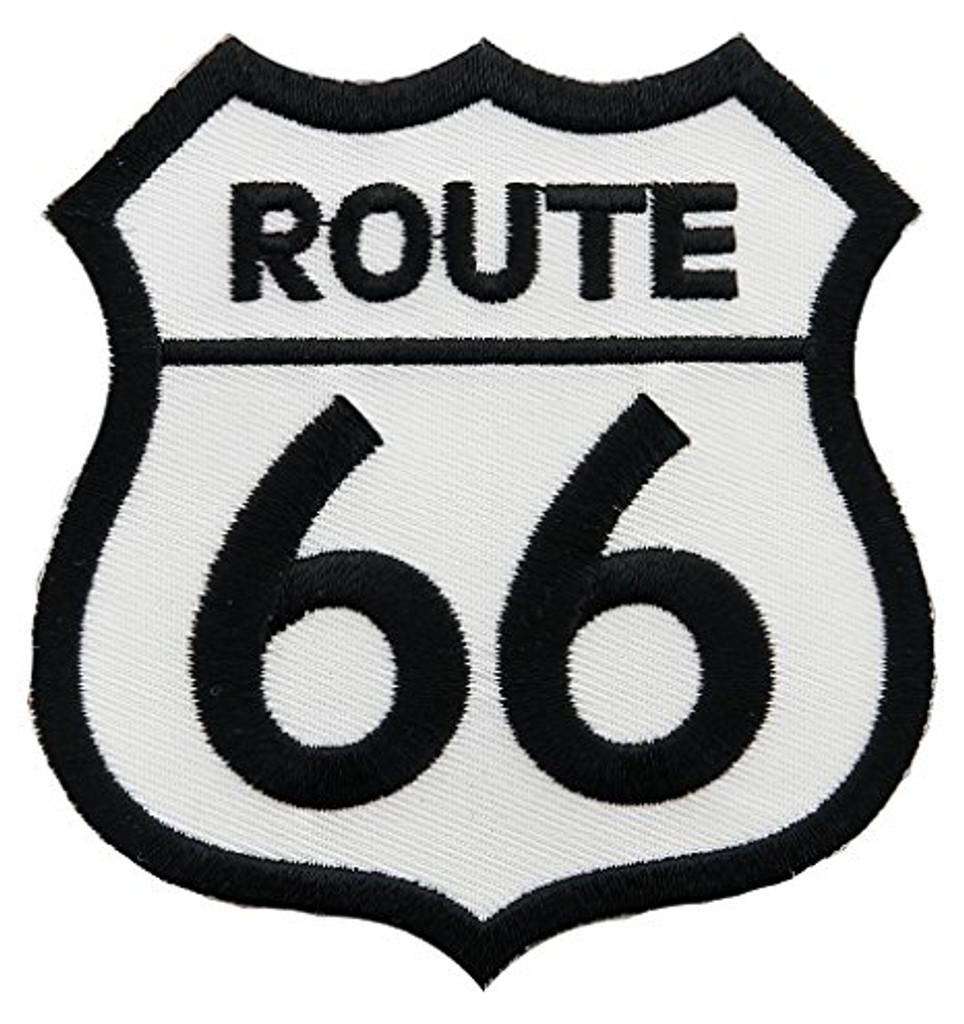 Route 66 Highway Black and White Embroidered Patch