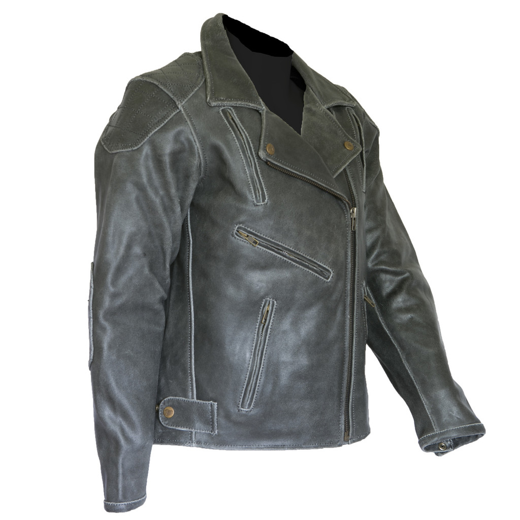 Diana Women's Black Vintage Distressed Leather Motorcycle Jacket