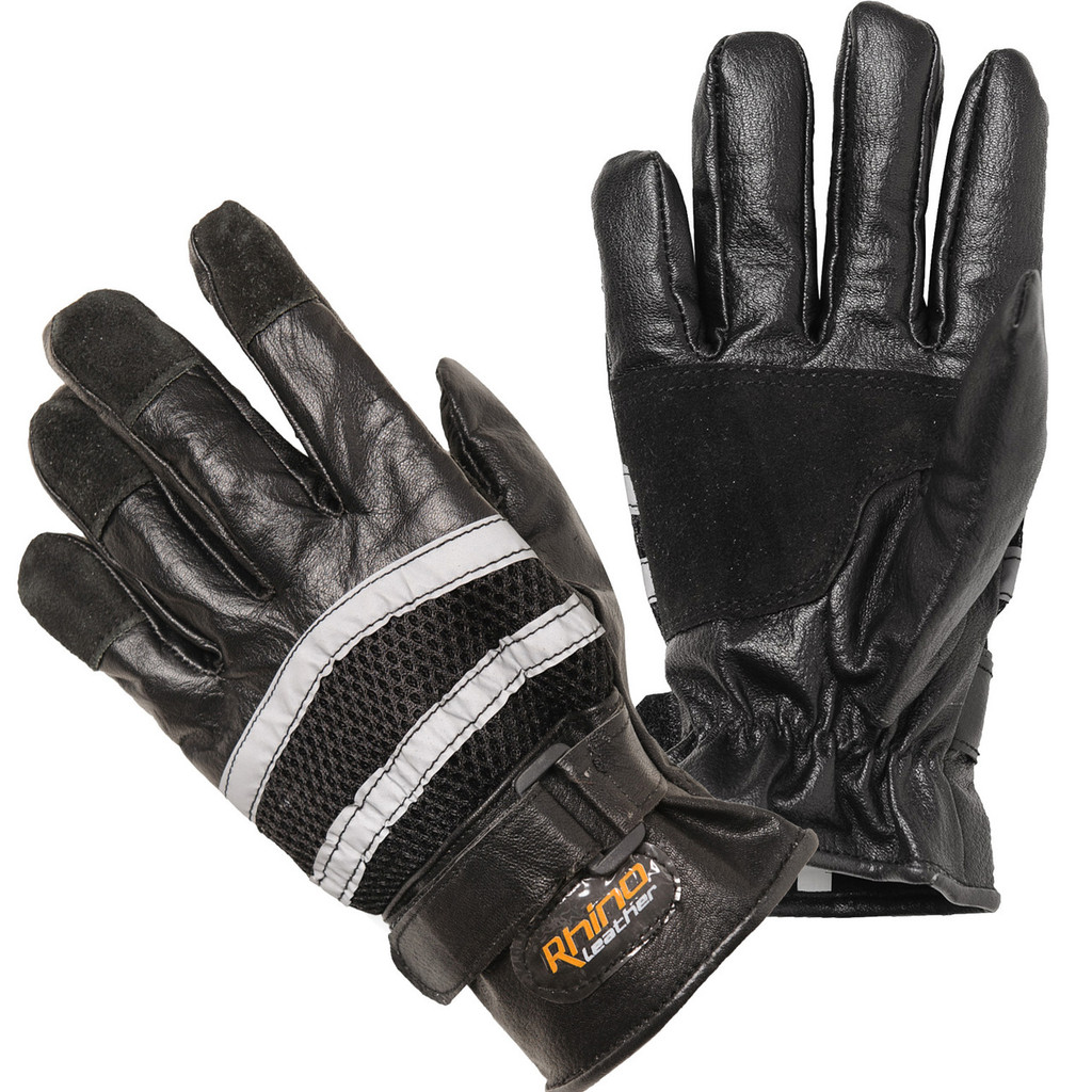 Reflective Full Finger Cruiser Leather Gloves - Flash