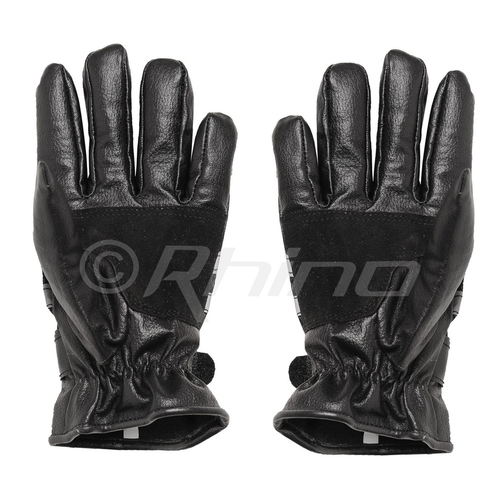 Reflective Full Finger Cruiser Leather Gloves - front