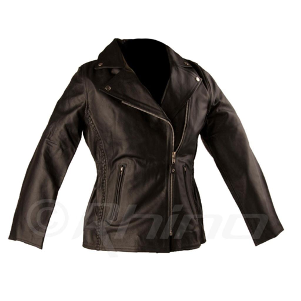 Womens Leather Braided Classic Biker Jacket