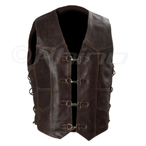 Dark Brown Distressed Leather Vest with Metal Clasps - front