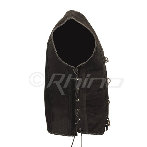 Suede Vest with Metal Clasps and Black Leather Braiding - side view