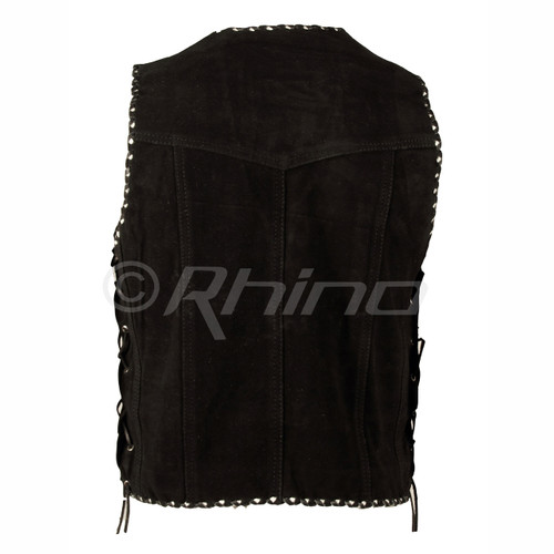 Suede Vest with Metal Clasps and Black and White Braiding - back view