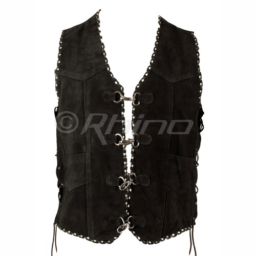 Suede Vest with Metal Clasps and Black and White Braiding - front view