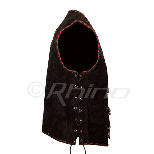 Suede Vest with Metal Clasps and Black and Red Braiding - side view