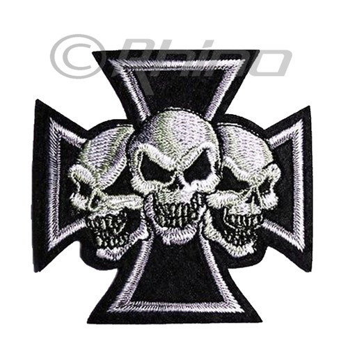 Cross with 3 Skulls Embroidered Patch