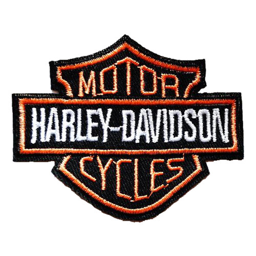 Harley Cycles Embroidered Patch - black and orange