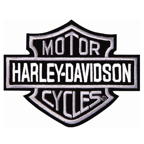 Harley Davidson Motorcycle Embroidered Patch - Black & White