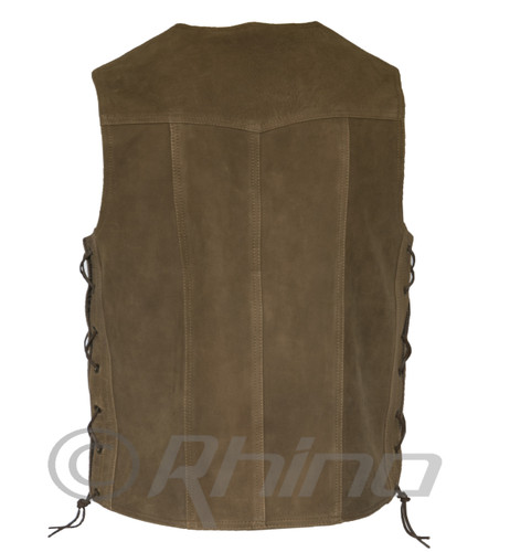 Brown Leather Motorcycle Vest