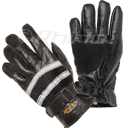 Reflective Full Finger Cruiser Mens Motorbike Leather Gloves