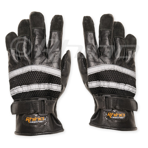 Reflective Full Finger Cruiser Leather Gloves - back