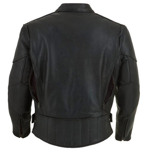 Leather Motorcycle Jacket with vents and armour - back vents open