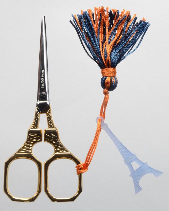 Gold Handled Eiffel Tower Scissors - Blue Tassel