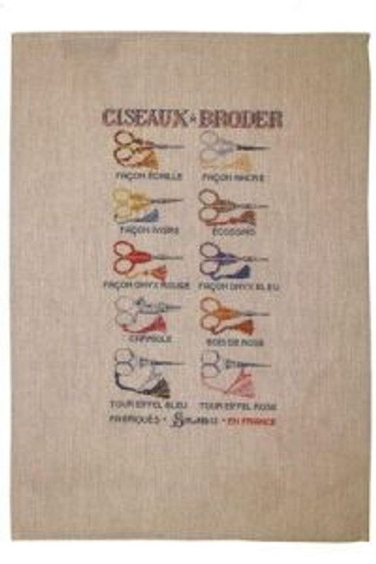 Sajou French Linen Tea Towels - Scissor Style