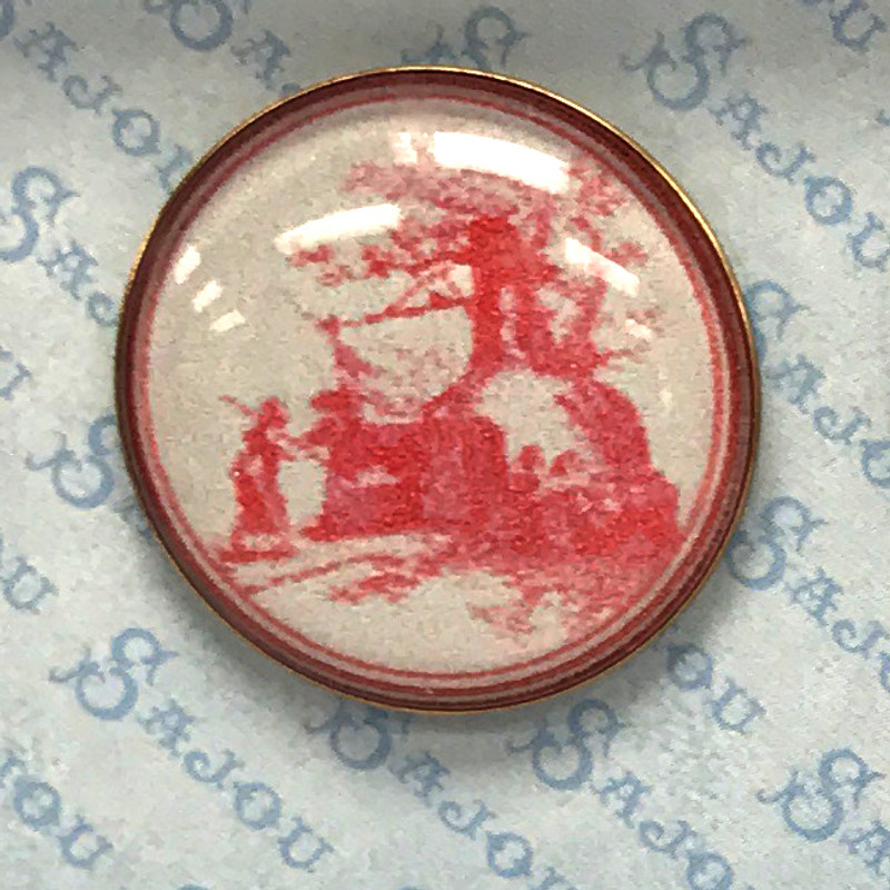 Set of Six Toile Museum Buttons
