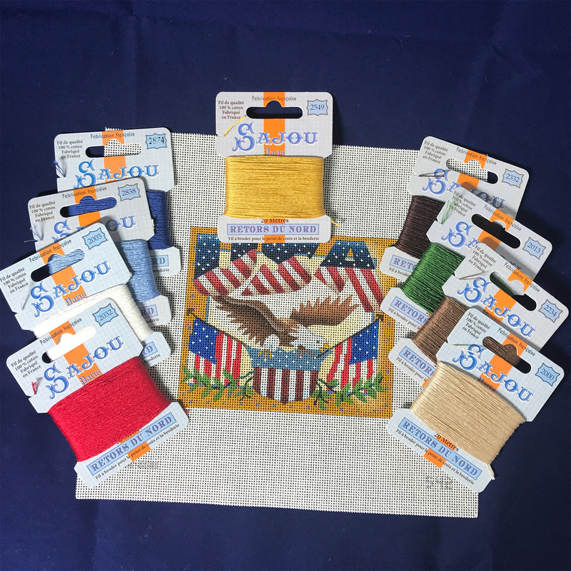 USA Needlepoint Kit with Retors du Nord Threads