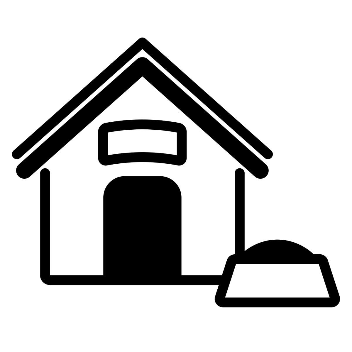 dog house beside a dog food bowl icon
